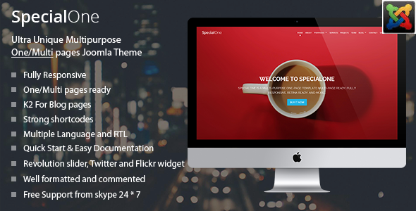SpecialOne - One Page Joomla Template - Joomla CMS Themes