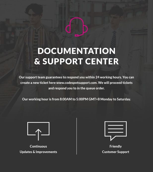 Documentation & Support Center. Our support team guarantees to respond you within 24 working hours. You can create a new ticket here www.codespotsupport.com. We will proceed tickets and respond you to in the queue order. Our working hour is from 8:00AM to 5:00PM GMT+8 Monday to Saturday. Continuous Updates & Improvements. Friendly Customer Support