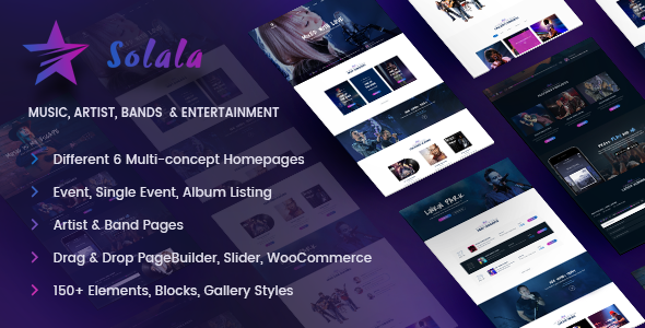 Music WordPress Theme | Music WP Solala (Music, Band, Artist, Concert, Audio, Fanclub)