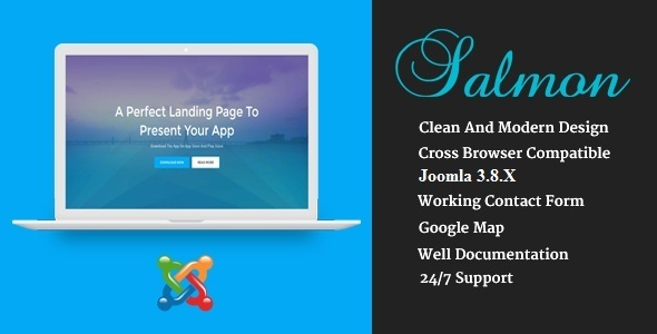 Salmon - One Page App Landing Business Joomla Theme With Page Builder - Technology Joomla