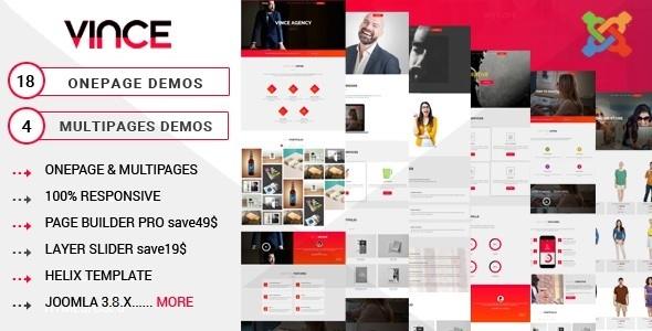 Vince One Page & Multi Page Multipurpose Joomla Theme With Page Builder - Joomla CMS Themes