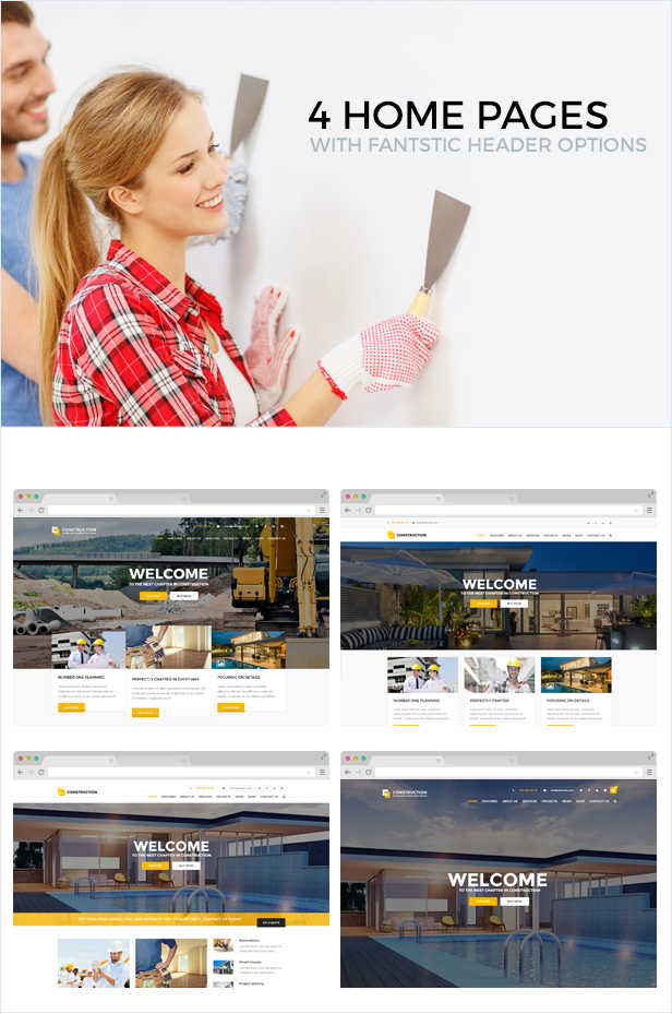 4 home pages with fantastic header options