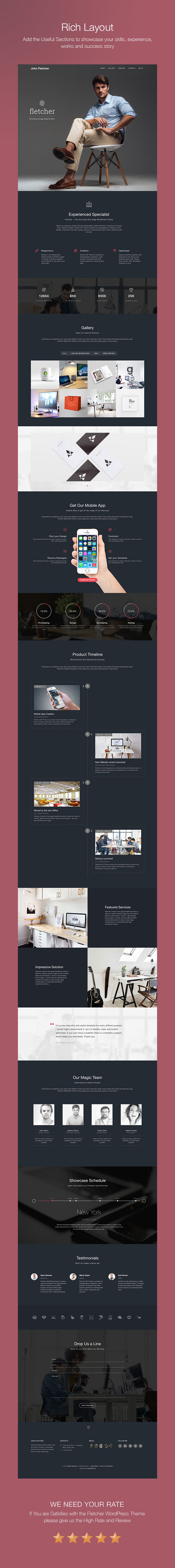 Fletcher WP theme Sections