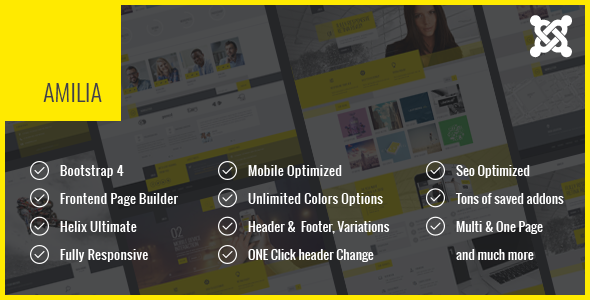 Amilia - Responsive Multi-Purpose Joomla Theme With Page Builder - Corporate Joomla