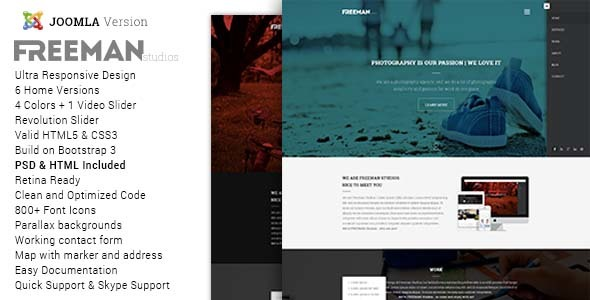 Freeman - Multipurpose One Page Joomla Theme - Joomla CMS Themes
