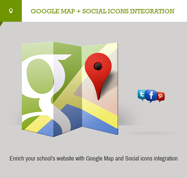 Google map and social icons