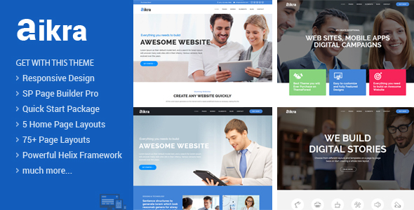Aikra - Responsive MultiPurpose Joomla Template With Page Builder - Business Corporate