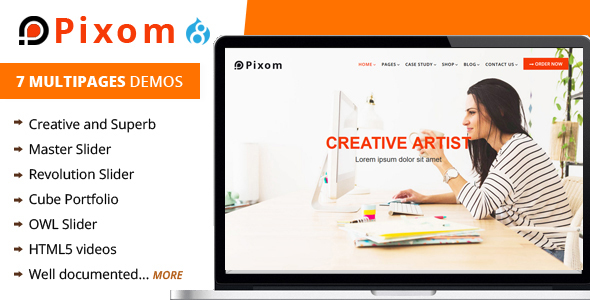 Review : Pixom - Multipages Responsive Drupal 8 Theme | Business
