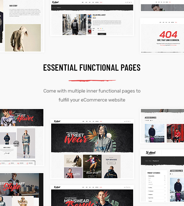 Lots of Functional Pages in Striz Fashion Ecommerce WordPress Theme