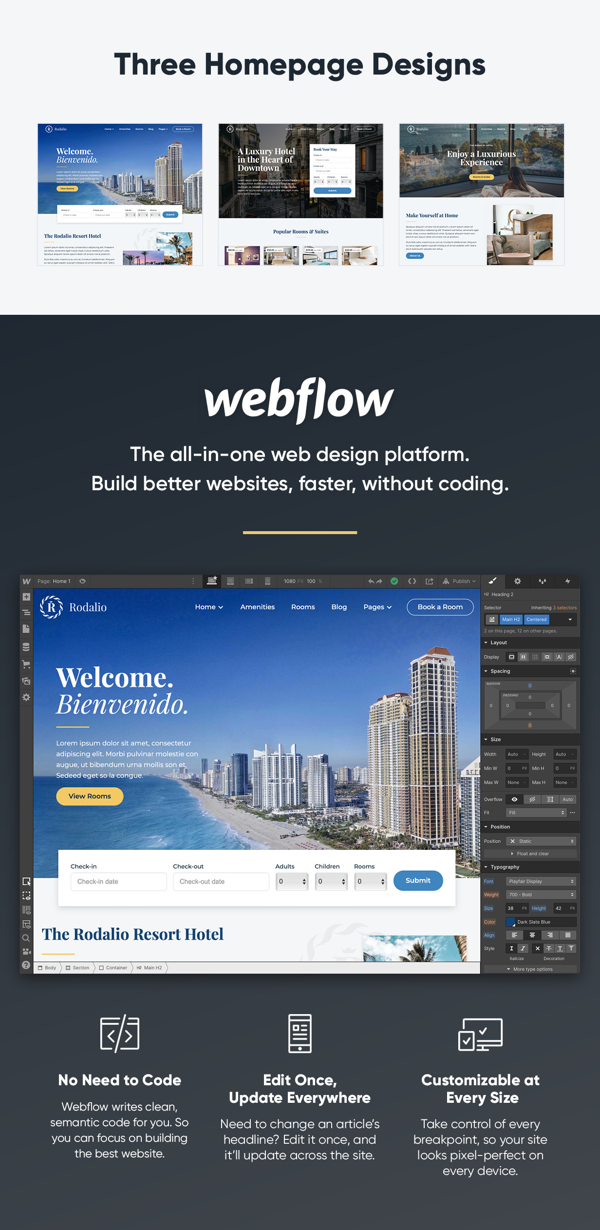 Three Homepage designs. Webflow is the all-in-one web design platform. Build better websites without code.